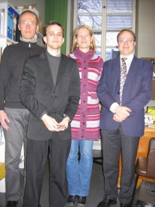 From left to right: Tapani Salminen, Christopher Culver, unknown graduate student, Prof Riho Grünthal.