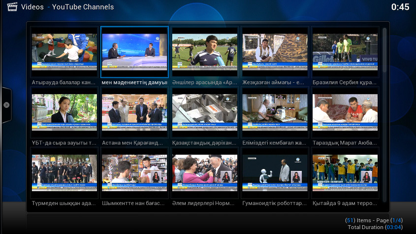 A screenshot of Kazakh television programming on the XBMC through the Youtube Channels plugin.